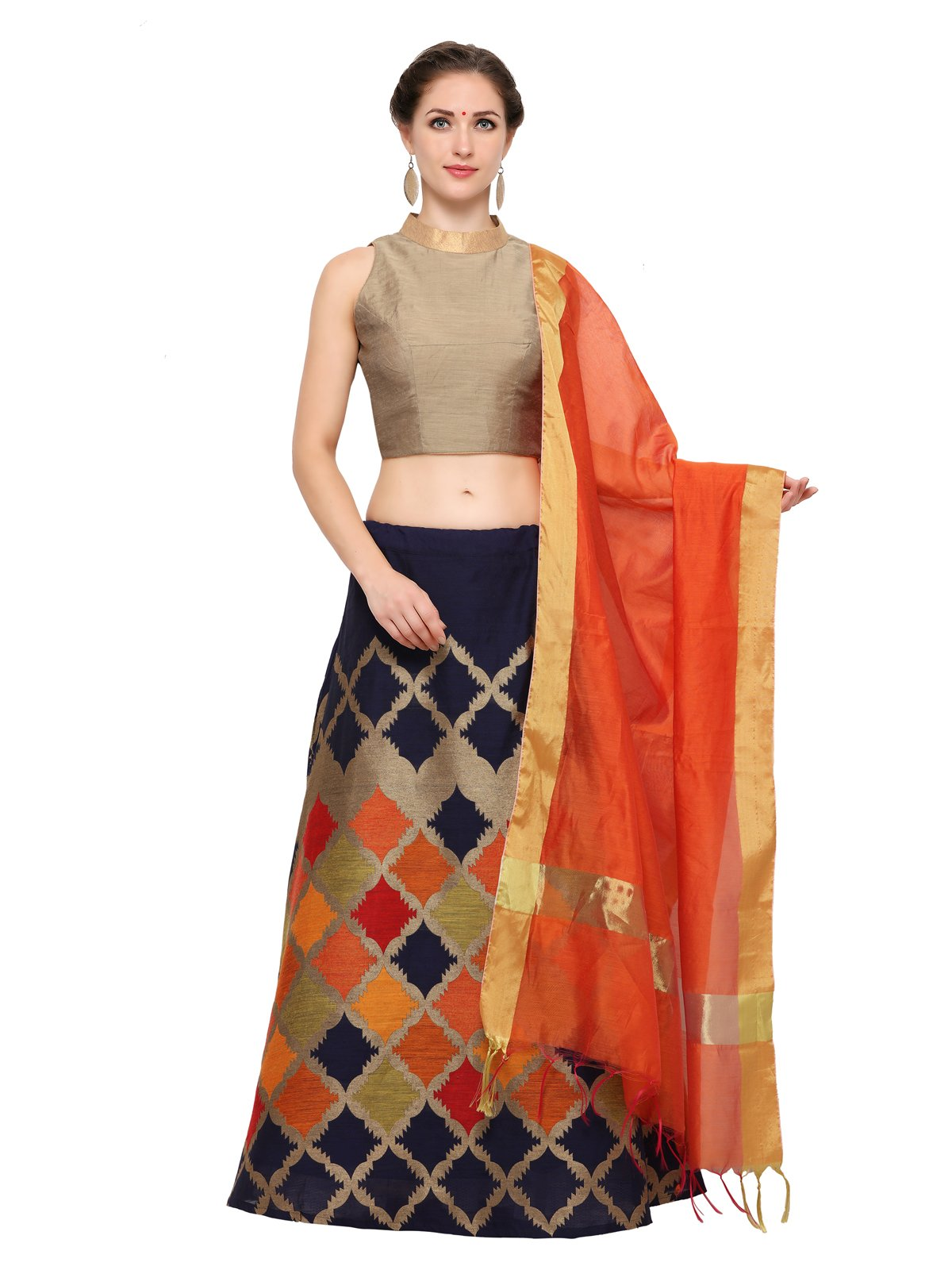 f3d4ca07286 Inddus Women s Cotton Semi Stitched Lehenga Choli (IND-IFW-65-D ...