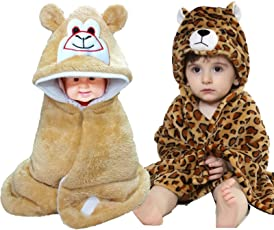 Brandonn 3D Printed and Furry Glacier Hooded Smiley Baby Blanket and Wrapper Pack - Tiger (Beige, Pack of 2)