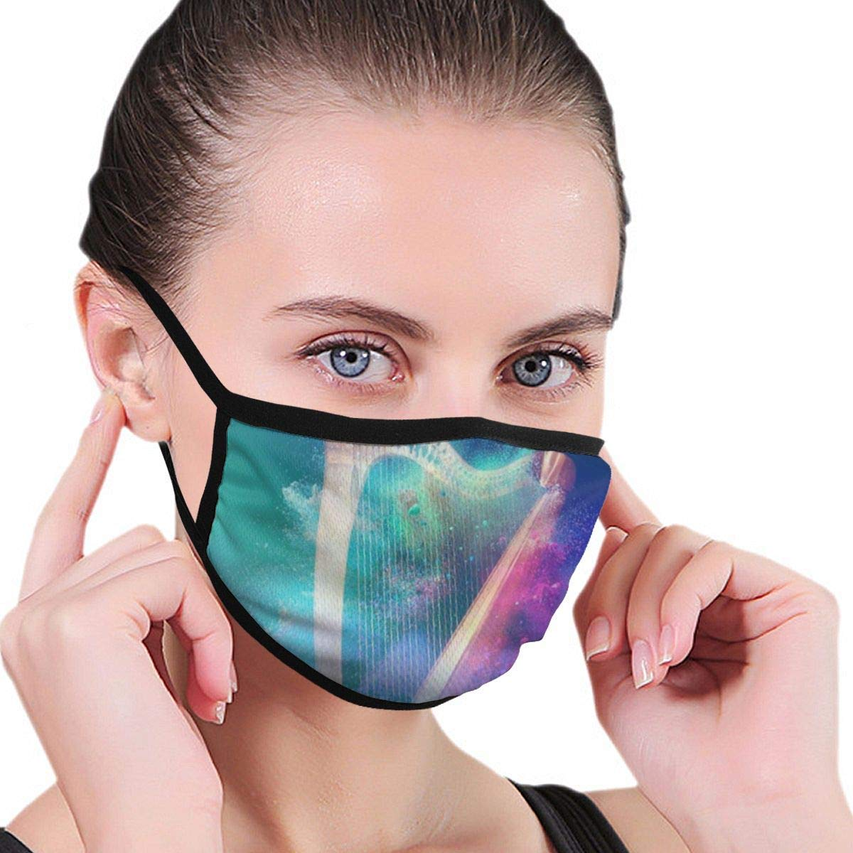 Bdwuhs Mascarillas Bucales Fashion Mouth Mask,Harp Spray Painting Unisex Anti-Dust Face Mouth Muffle Mask For Kids Teens Men Women, Windproof Motorcycle Face Emoticon Masks For Ski Cycling Camping