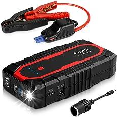FlyHi N18 1200A Spitzenstrom tragbar Auto Starthilfe (Bis zu 7,0 l Gasmotor / 6,5 l Dieselmotor) 12 V Starthilfe mit Dual Smart USB, 5/9/12 V Schnellladung, 12 V / 6A Ausgang, Zigarettenanzünder-Adapter, LED Taschenlampe