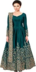 Insight ecommerce Women's Taffeta Silk and Georgette Embroidered Semi-Stitched Anarkali Gown (Green_Free Size)