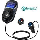 Bluetooth FM Transmitter, CHGeek FM Transmitter Quick Charge 3.0 Radio Adapter Freisprecheinrichtung Car Kit Charger mit 14 Inch Anzeige, 4A Dual USB Charging Ports für -Schwarz