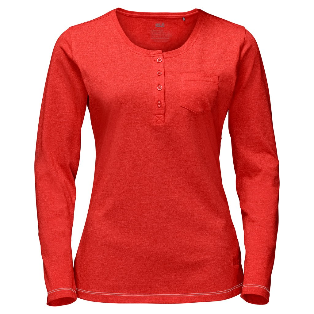 Jack Wolfskin���T-shirt a manica lunga da donna Essential, donna, FIERY Red, XL