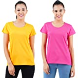 Midaas Womens Cotton Solid Tshirt Mustard::Dark Pink Pack of 2