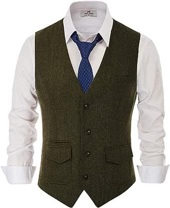 PJ PAUL JONES Men's British Herringbone Tweed Vest Casual Wool Blend Waistcoat with Pockets