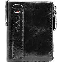 Hibate Mens Leather Wallet RFID Blocking Men Wallets Credit Card Holder Coin Pocket Purse - Black