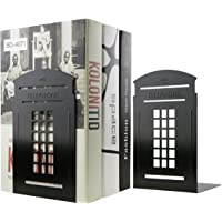 Vintage British Style London Telephone Booth Kiosk Book Organizer Metal Bookends for Library School Office Home…