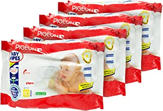Pigeon Chamomile Baby Wipes (White/Red, Pack of 4, 80 Sheets per Pack)