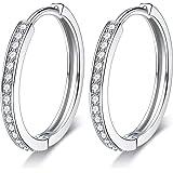 Lydreewam Orecchini da donna a cerchio orecchini in argento Sterling 925con zirconi 3A, diametro 24mm