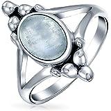 Boho Bali stile ovale dichiarazione blu lapis arcobaleno luna dell'anello per teen split Shank Band ossidato 925 Sterling Arg