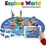PLAYAUTOMA Explore World - Fun Educational, Jigsaw World Map Floor Puzzle, Interactive Augmented Reality Learning Games for Kids 6-99 Years