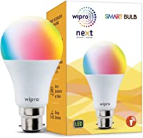 Wipro WiFi Enabled Smart LED Bulb B22 9-Watt (16 Million Colors + Shades of White) (Compatible with Amazon Alexa and...