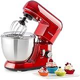Klarstein Bella Pico Mini • Robot de cuisine • Mélangeur • Machine à pétrir • 550-800W • 6 vitesses • 4 litres • Bras multifonction • Bol inox • 3 accessoires • Compact • Solide • Rouge