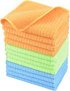 KinHwa Microfibre Dish Cloths Soft Kitchen Wash cloth for Washing Dishes Dish Rags Fast Drying Cleaning Cloth With Stripe 12inch x 12inch (Blue4/Green4/Orange4, 12pack)