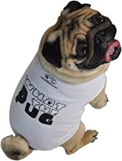 Ruff Ruff and Meow Dog Cotton Tank Top, What the Pug,Large(White)
