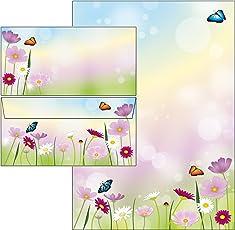 schöne Blumenwiese - Blumen Briefpapier-Mappe 25 Blatt Briefpapier + 20 Stück Briefumschläge DIN lang ohne Fenster 51235+61231M