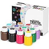Stofffarben Textilfarben Acrylfarben Set Waschfest 12 Farben x 20 ml Stoffmalfarben Textilmalfarben Flüssig Wasserfest Waschm