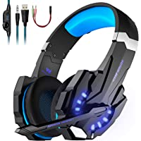 LESHP Gaming Headset, Wired Audio Headset with Microphone, Audio Stereo Bass Headphone for PS4/ Xbox one/ Mac/ PC Controller with Mic, with LED Light, Noise-Cancelling