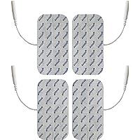 Électrodes pour électrostimulation TENS EMS - 4 électrodes 10 x 5 cm - connexion à fil 2 mm - pour électrostimulateurs TENS et EMS