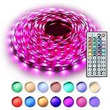RGB LED Strip Set, Wasserdicht bis 5 Meter SMD 5050 LED Strip Full Kit mit 44-Tasten IR Fernbedienung und 12V Netzteil, flexibel LED Schlauch für Zuhause Küche Weihnachten Indoor Dekoration MEHRWEG