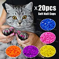 Pets Empire Soft Nail Caps for Cat Claws 20 pcs + Adhesive (Color May Vary) (Small : (2.5-4KG))