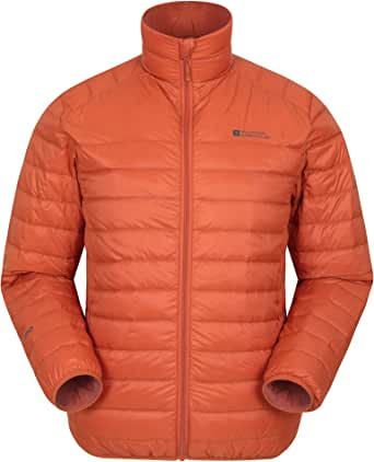 Mountain Warehouse Featherweight Mens Down Jacket - Lightweight Winter Coat, Easy Care, Packaway Bag, Water Resistant Rain Jacket – for Camping, Travelling & Walking