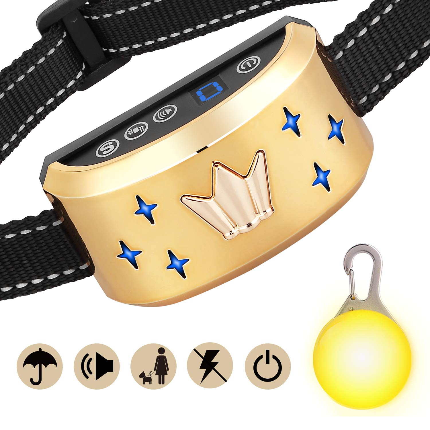 GoPetee Dog Anti Bark Collar Stop Barking Sound and Vibration with Switch No Shock Collar Pet Trainer Collar Come with LED light for Small Medium Large Dogs (Crown, Upgraded version)