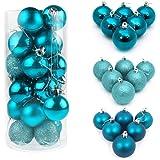 ILOVEDIY 24/48Pcs Boules de Noël en Plastique pour la Décoration Fete Noël (24Pcs - 3cm, bleu lac)