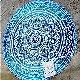 QHGstore Fader Farbe Runde Cotton Tippet Tischdecke Strandtuch Runde Yoga Matte Blau 150cm