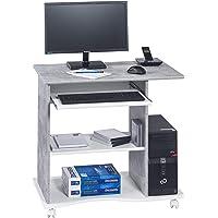MAJA Möbel Computertisch, Holzdekor, Betonoptik - Weiß Uni, 80,00 x 50,00 x 75,00 cm