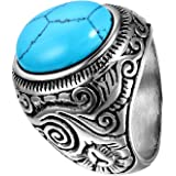 Flongo Anelli Uomo in acciao Retro Stile Blu Perline Mosaico Elegante Stile Vari Size scelti