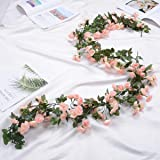 Inrali Artificial Rose Flowers Vine Silk Rose Garland Fake Flowers Silk Roses Garland for Wedding Decorations Garden Wall Val