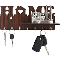 "Metvan ""Home Shelf "" Keys Wooden Key Holder (29 cm x 13.5 cm x 0.4 cm, Brown)- 7 Hooks"