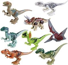 Pixnor Edificio di dinosauro Jurassic mondo giocattoli Jurassic Park blocca Abs 7cm confezione da 8