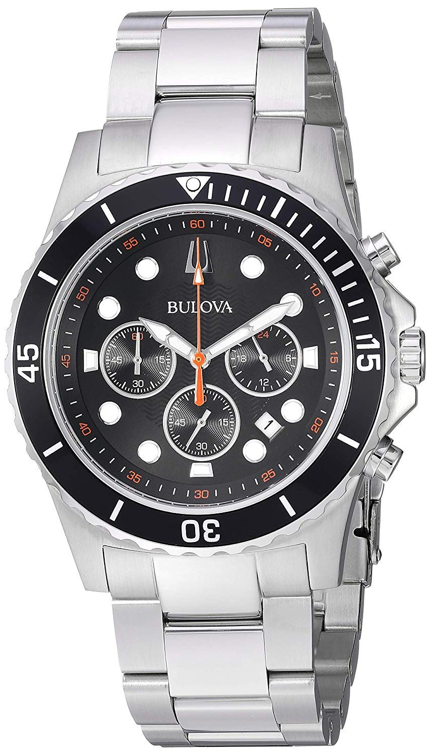 Bulova Mens Chronograph Solar Powered Watch with Stainless Steel Strap 98B326
