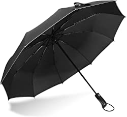 Rainlax Travel Umbrella Unbreakable Lightweight 10 Ribs Automatic Compact Windproof Canopy Umbrellas with Light Reflective for One Handed Operation