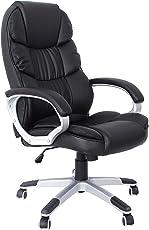 SONGMICS Bürostuhl mit hoher Rückenlehne, Chefsessel, Schreibtischstuhl, Höhenverstellung, PU, schwarz, 67 x 66 x 114 cm OBG24B