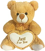 Ultra Brown Teddy Bear Soft Toy Stuffed Holding Heart - Just for You, Brown