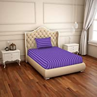 Spaces Skyrise Violet 210 Tc Cotton Single Bed Sheet with Pillow Cover