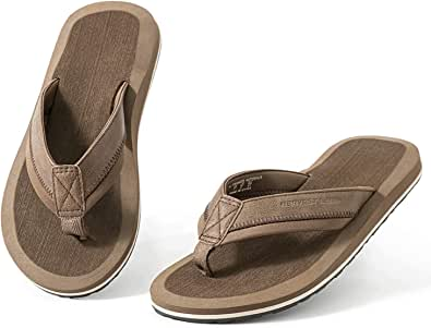 Mens Flip Flops Adults Thong Sandals for Beach/Pool with Comfy Arch Support Open Toe Summer Shoes