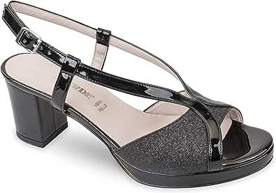 Valleverde Sandalo Donna Sintetico 45373 Gold o Black. Una Calzatura Comoda Adatta per Tutte Le Occasioni. Primavera Estate 2020