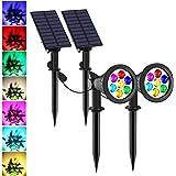 7 LED Spot Solaire Jardin, T-SUNRISE Couleurs changeantes Lampe Solaire Extérieur Auto-on/Off, Installées Séparément pour l'e