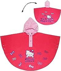 """Regenponcho / Regencape - """" Hello Kitty """" - Gr. 110 - 116 - 122 - circa 4 bis 6 Jahre - für Kinder - Mädchen - Tiere Katzen Fahrrad / Regen Poncho - Regenmantel Regenjacke - Kätzchen Schleife / pink rosa"""