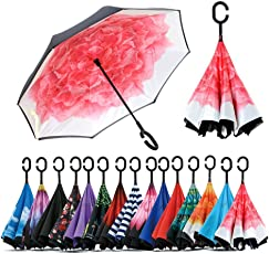 Density Collection Inverted Umbrella, Double Canopy Vented Windproof Waterproof Sun Protection Stick Umbrellas, Multi Design ☂☂