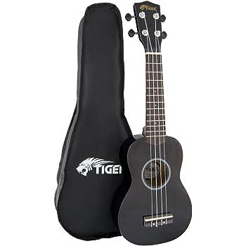 Tiger UKE7-BK - Ukulele soprano per principianti, colore nero