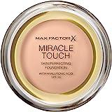 Max Factor Miracle Touch Foundation i färg 35 pärla beige – intensiv, pudrig makeup för en felfri hudbild – med ljusskyddsfak
