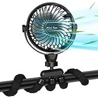 Ventilateur Polyvalent Silencieux,Ventilateur à Pince avec Veilleuse, Ventilateur à Batterie de 2600 mAh avec Trépied…
