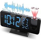 "JIGA Despertador Proyector, con Función de Radio FM, Pantalla de Espejo LED de 7"", Brillo de 4 Niveles, Carga USB, Proyección"