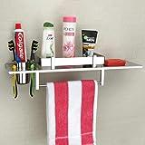 Plantex Stainless Steel 4in1 Multipurpose Bathroom Shelf/Rack/Towel Hanger/Tumbler Holder/Soap Dish/Bathroom Accessories (18