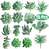 FEPITO 15 Piezas Artificiales Plantas suculentas Verde sin Manchas Faux Flower Succulents Mini Echeveria selecciones a Granel